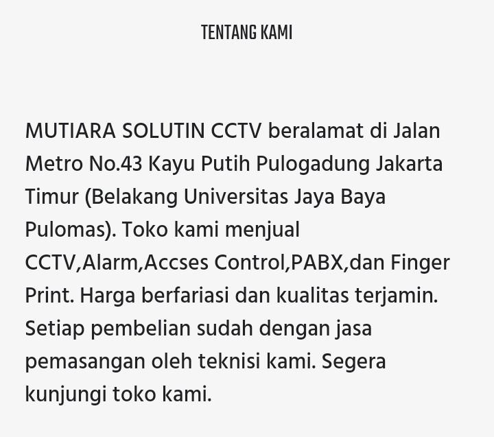 Toko CCTV Kepulauan Seribu